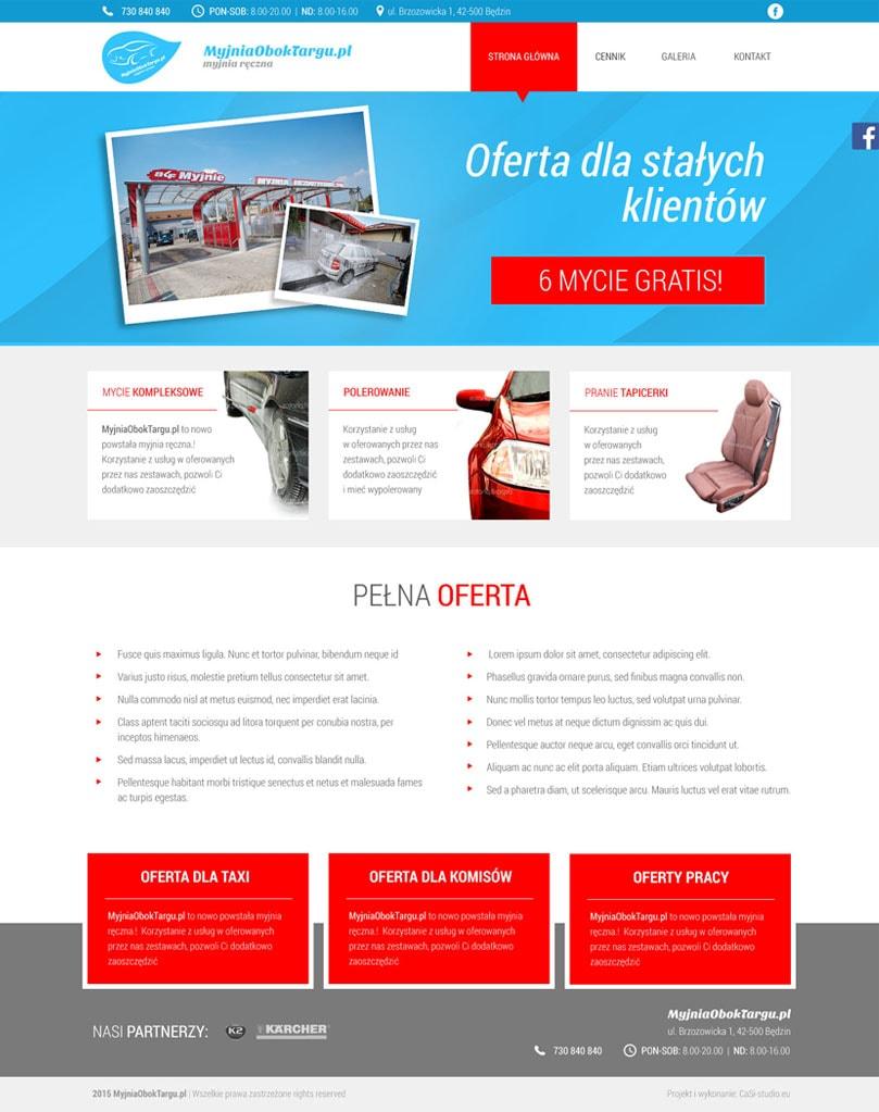 Strona główna - Projekt i wdrożenie strony internetowej myjni samochodowej – Myjnia Obok Targu