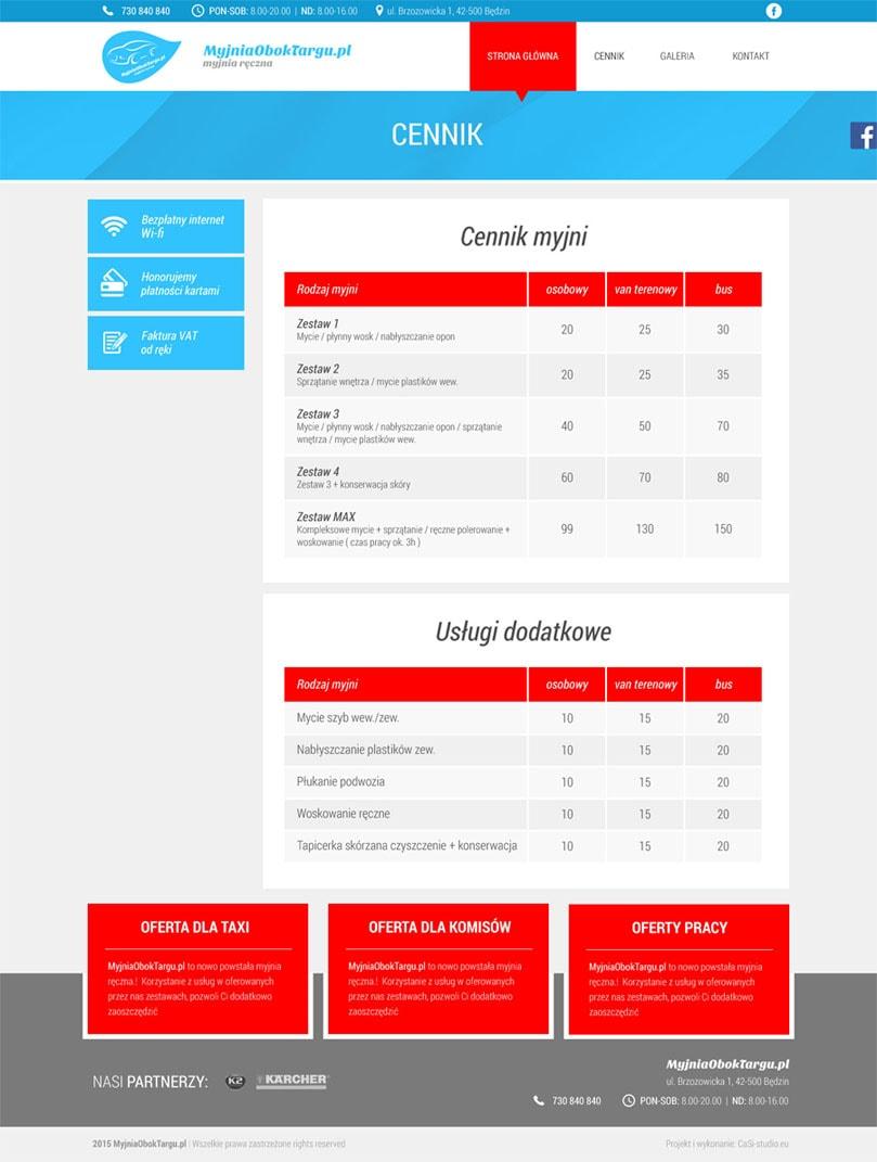 Cennik - Projekt i wdrożenie strony internetowej myjni samochodowej – Myjnia Obok Targu