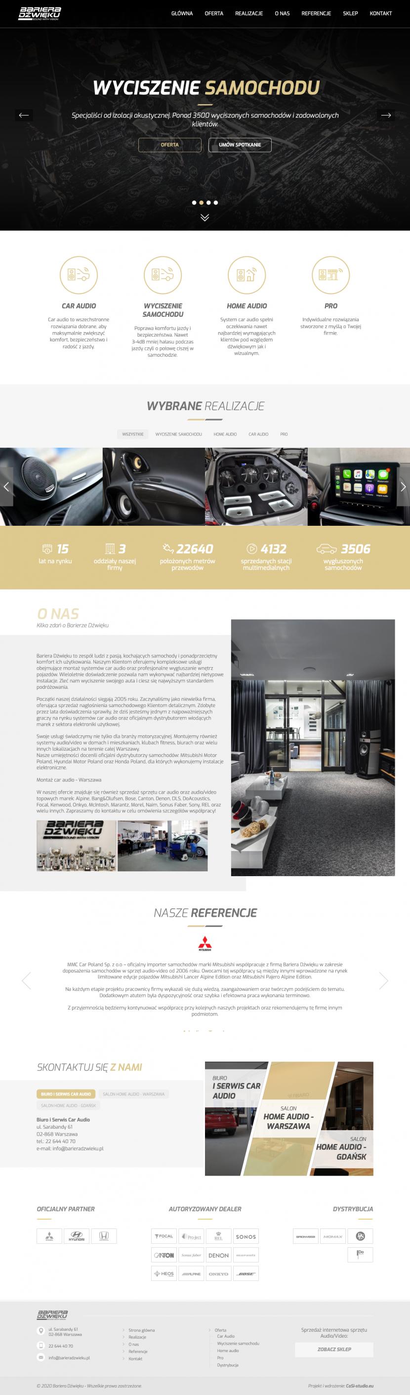 Strona główna - Projekt i wdrożenie strony internetowej Bariera Dźwięku