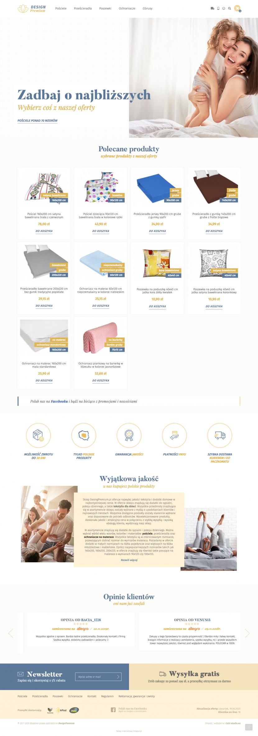 Strona główna - Projekt i wdrożenie sklepu internetowego Design Premium