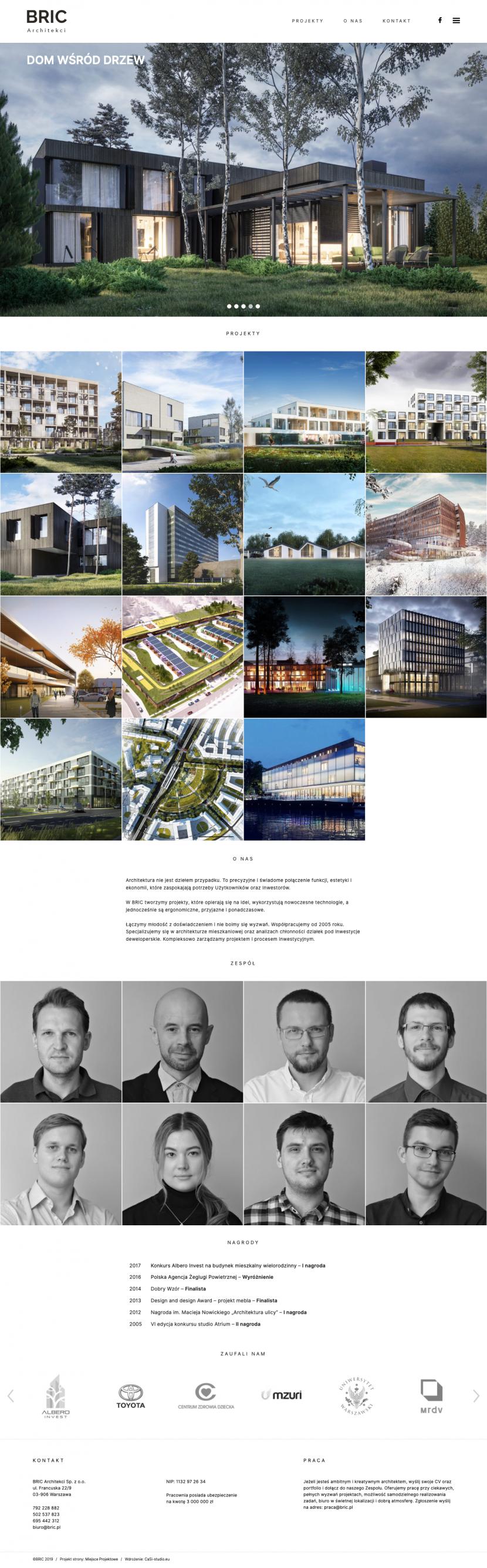 Strona główna - Wdrożenie strony internetowej zespołu Architektów – Bric